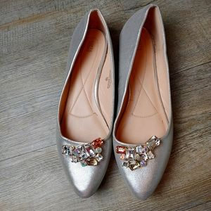 LEFT&RIGHT | Silver Jewelled Slip On Flats